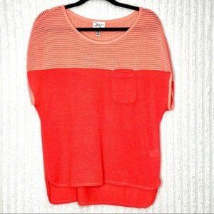 Milly Coral Oversized Pocket Blouse Size M